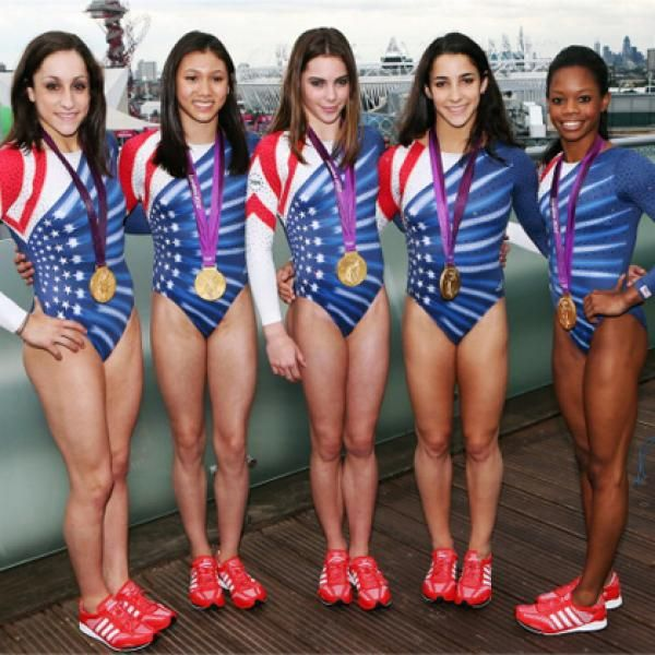 The Fab Jordyn Wieber, Kyla Ross, McKayla Maroney, Aly Raisman and  Gabrielle Douglas of the U. women's gymnastics team at Westfield Stratford  City in London ...