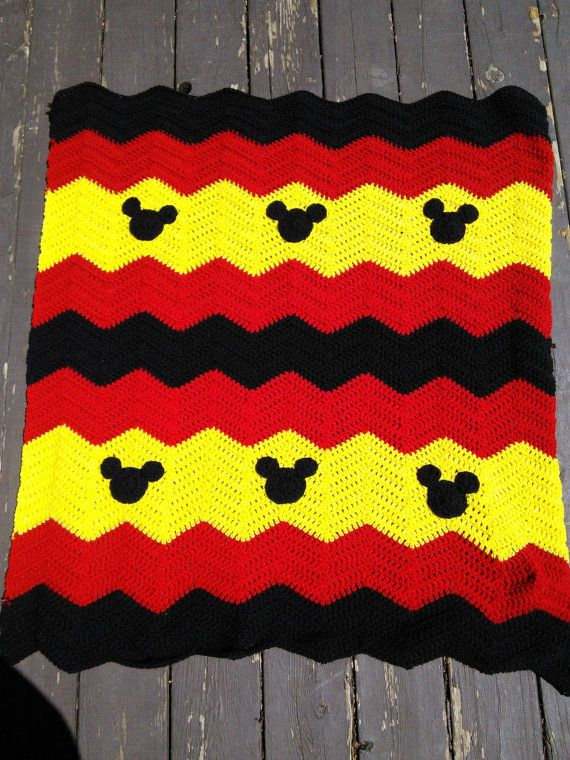 Red, Black and Yellow Mickey Minnie Mouse Crochet Baby Afghan, Baby ...