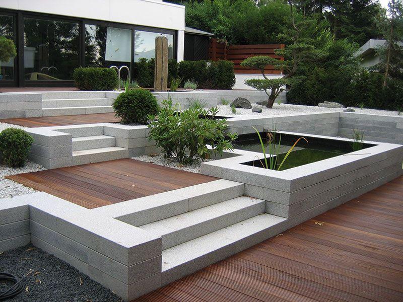 Bildergebnis f r granit blockstufe gartenmauer haus eingang garten terrasse und garten terrasse - Natursteine fur garten ...