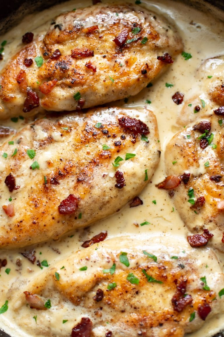 Heavy cream and bacon make the most amazing sauce for chicken! This easy recipe is perfect for date night or any night.