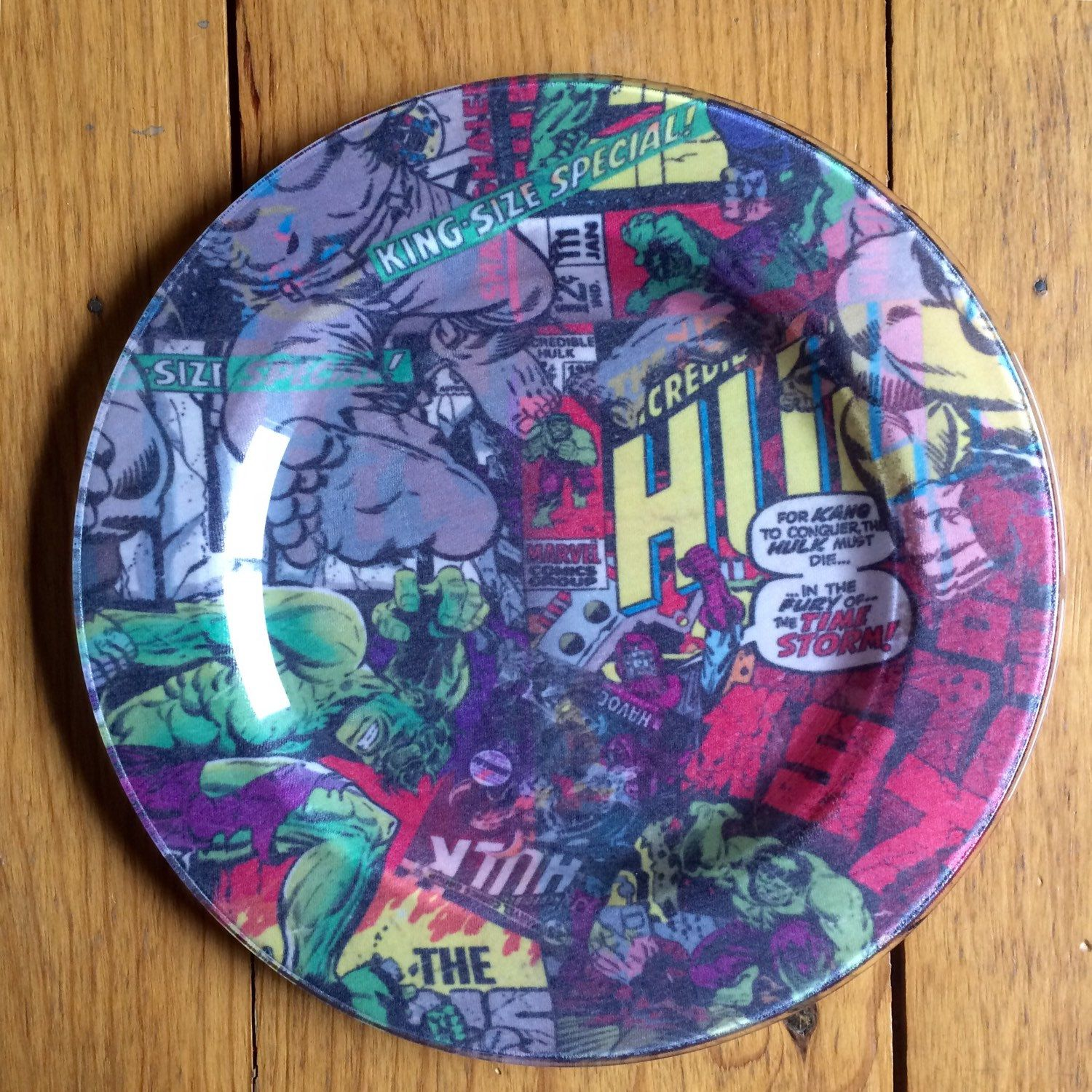 Marvel Hulk T,Shirt Glass Dinner Plates, decoupage plate