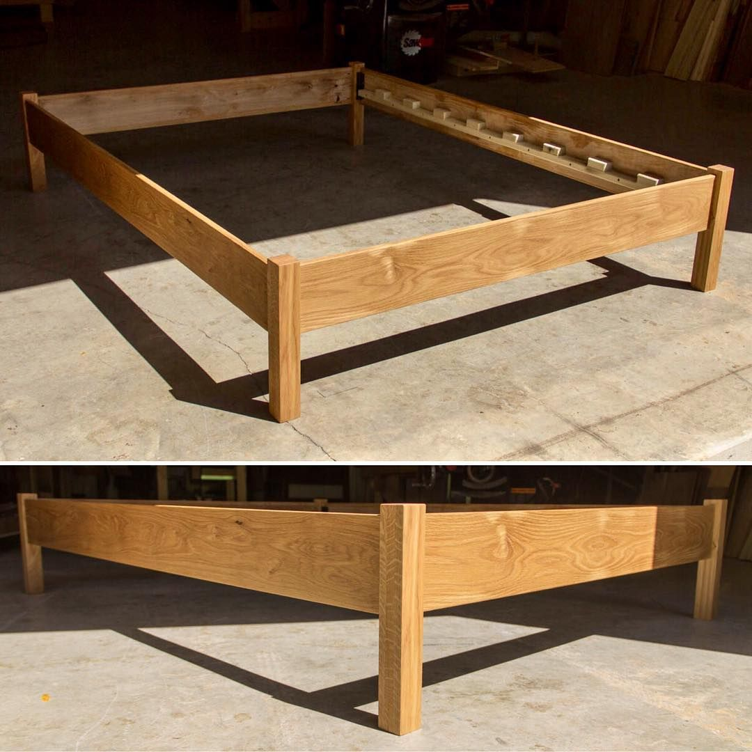 Simple White Oak Bed With Straight Square Legs Our Custom