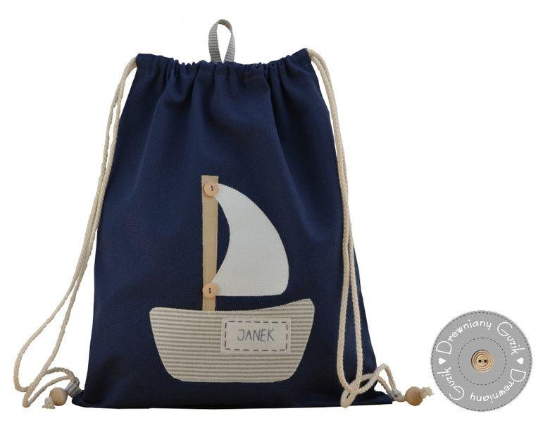 Drewnianyguzik Worek Plecak Do Przedszkola Z Imieniem Zaglowka Bags Gym Bag Backpacks