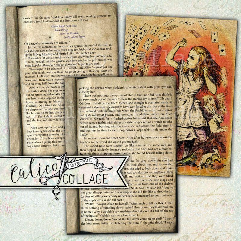 Printable Alice In Wonderland Vintage Book Pages Junk Journal Ephemera Pack In 2020 Alice In Wonderland Vintage Vintage Book Printable Collage Sheet