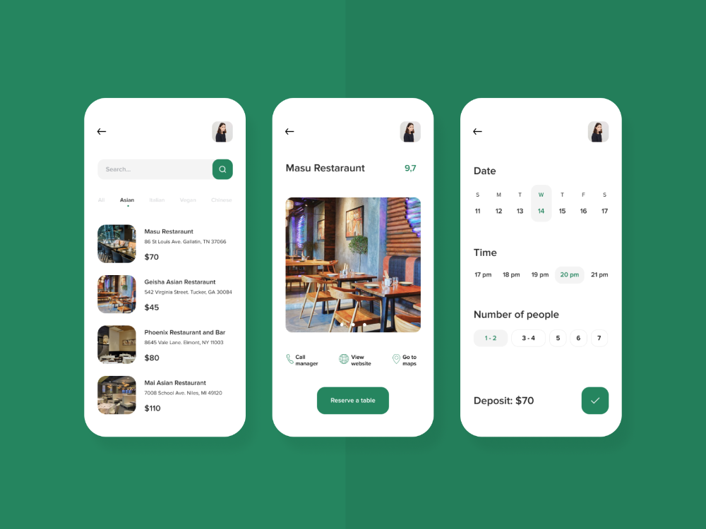 Book A Table Reservation App Concept Restaurant App App App Design
