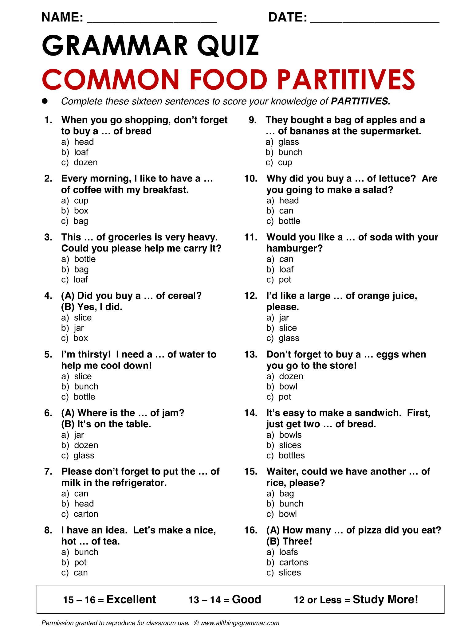 English Grammar Common Food Partitives