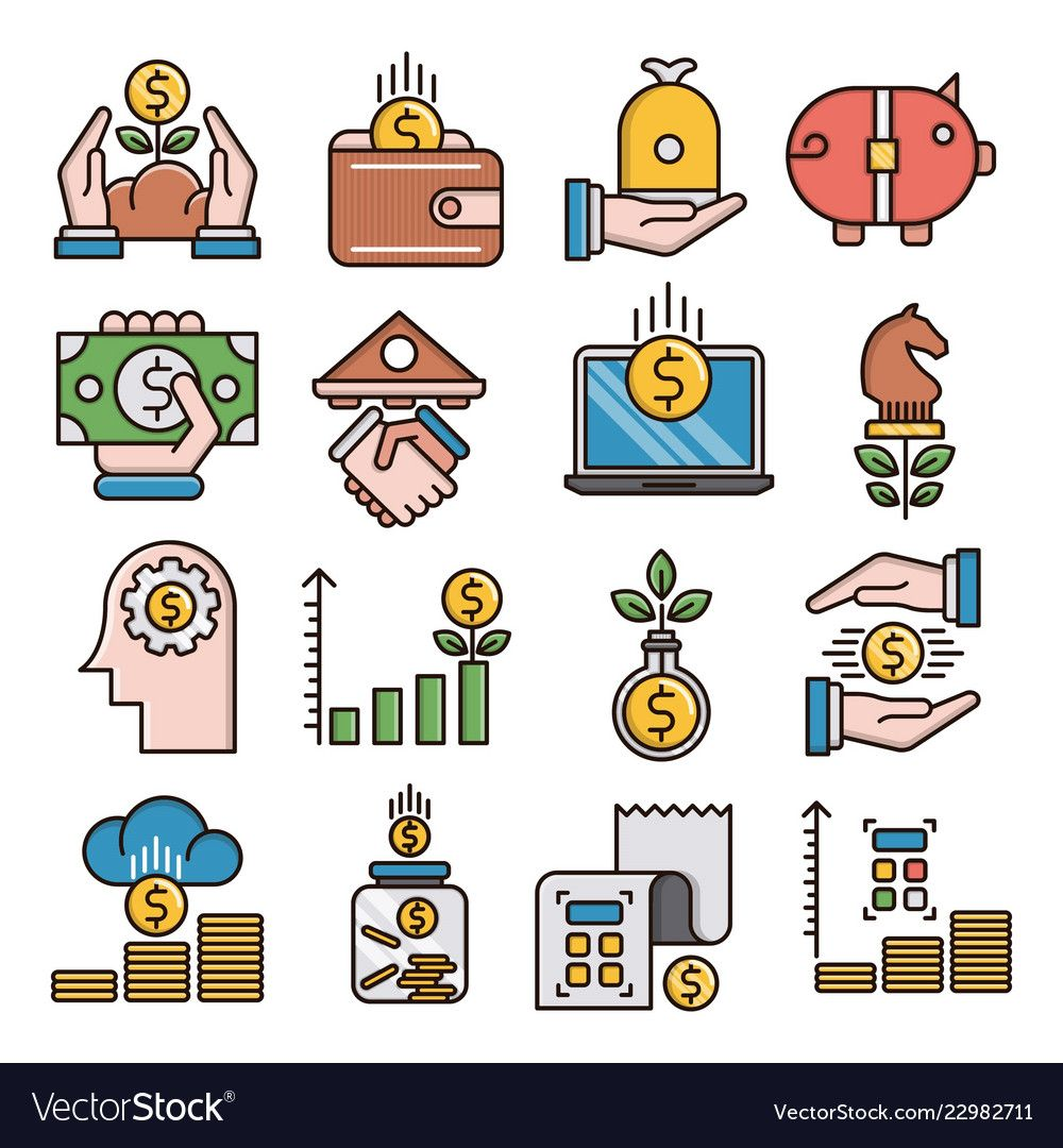 Finance filled outline icons vector image on