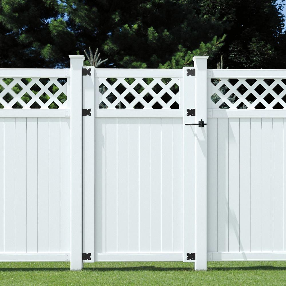 6 Ft X 3 1 2 Ft Lewiston Lattice Top Vinyl Unassembled Fence Gate 181972 The Home Depot Fence With Lattice Top Vinyl Gates Garden Fence Panels
