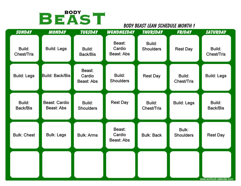 Body Beast Lean Schedule Month 1