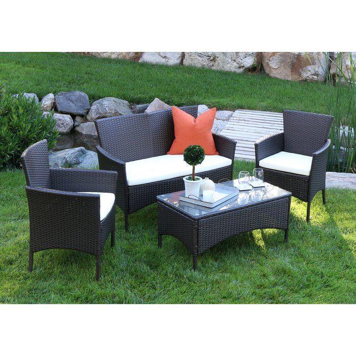 Baxter 4 Piece Sofa Set With Cushions Patio Furniture