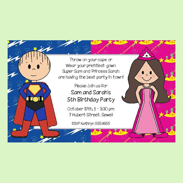Superhero and Princess Invitation