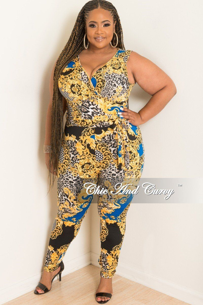 30549d34f4c Plus Size Sleeveless Faux Wrap Jumpsuit with Attached Tie– Chic And Curvy