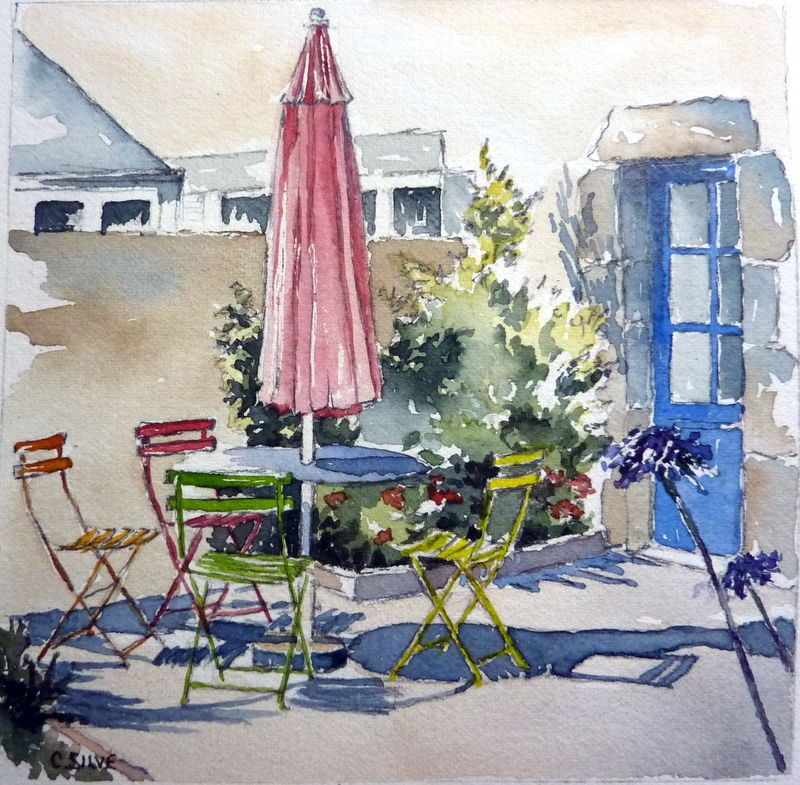 P1030601 watercolors pinterest aquarelles peinture for Aquarelle maison