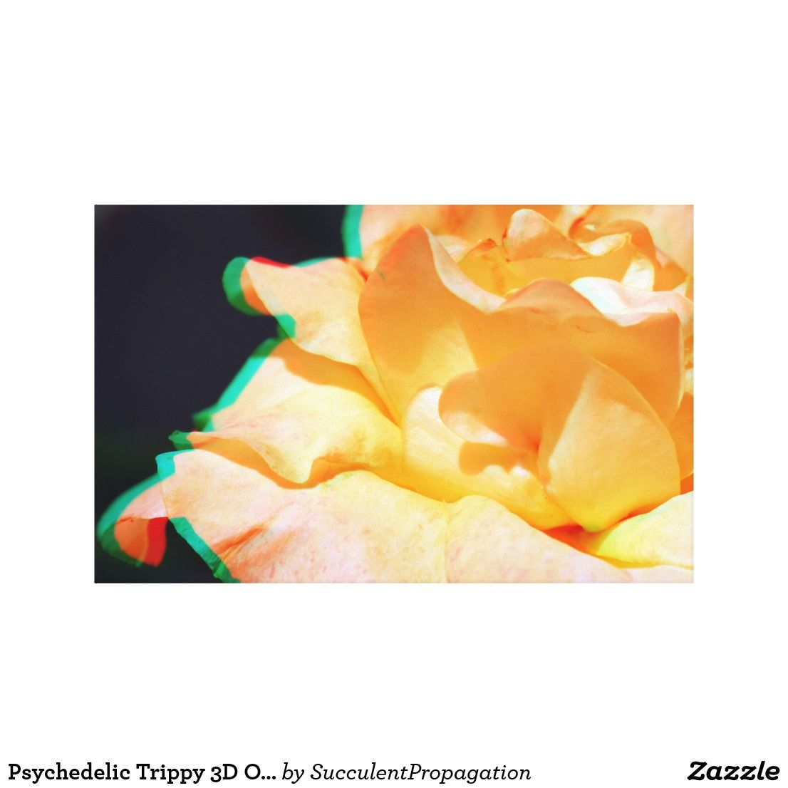 Psychedelic Trippy 3D Orange Wedding Rose Flower Canvas Print ...