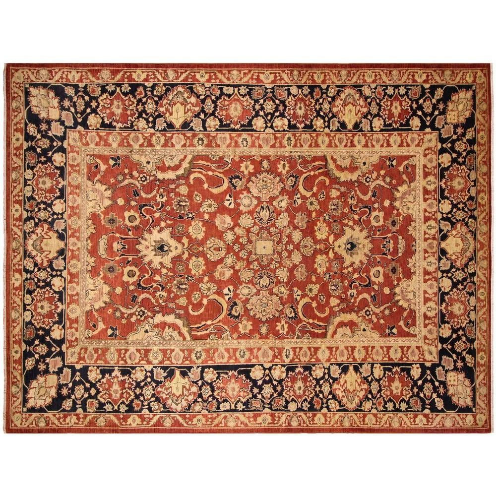 Kafkaz Peshawar Hannah Hand Knotted Rust Blue Wool Rug 10 X 14 Rust 10 X 14 Orange Arshs Fine Rugs Natural Fiber Oriental Rugs Area Rugs Colorful Rugs