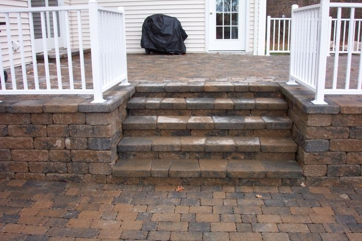 how to install brick pavers on concrete steps sunroom patio landscaping brick pavers. Black Bedroom Furniture Sets. Home Design Ideas