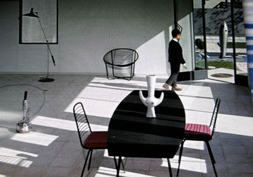 J.A. Motte table and chairs with Chambost vase - Villa Arpel ...