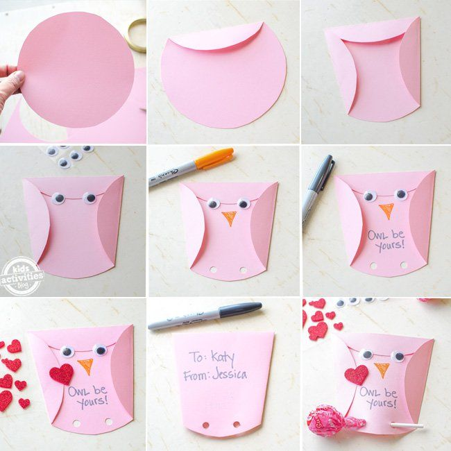 owl homemade valentines cards kids can make - Homemade Valentine Cards For Kids
