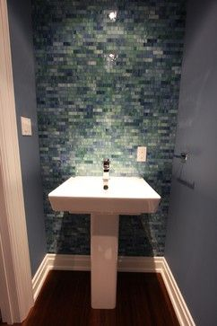 contemporary powder room - tiled accent wall | powder room