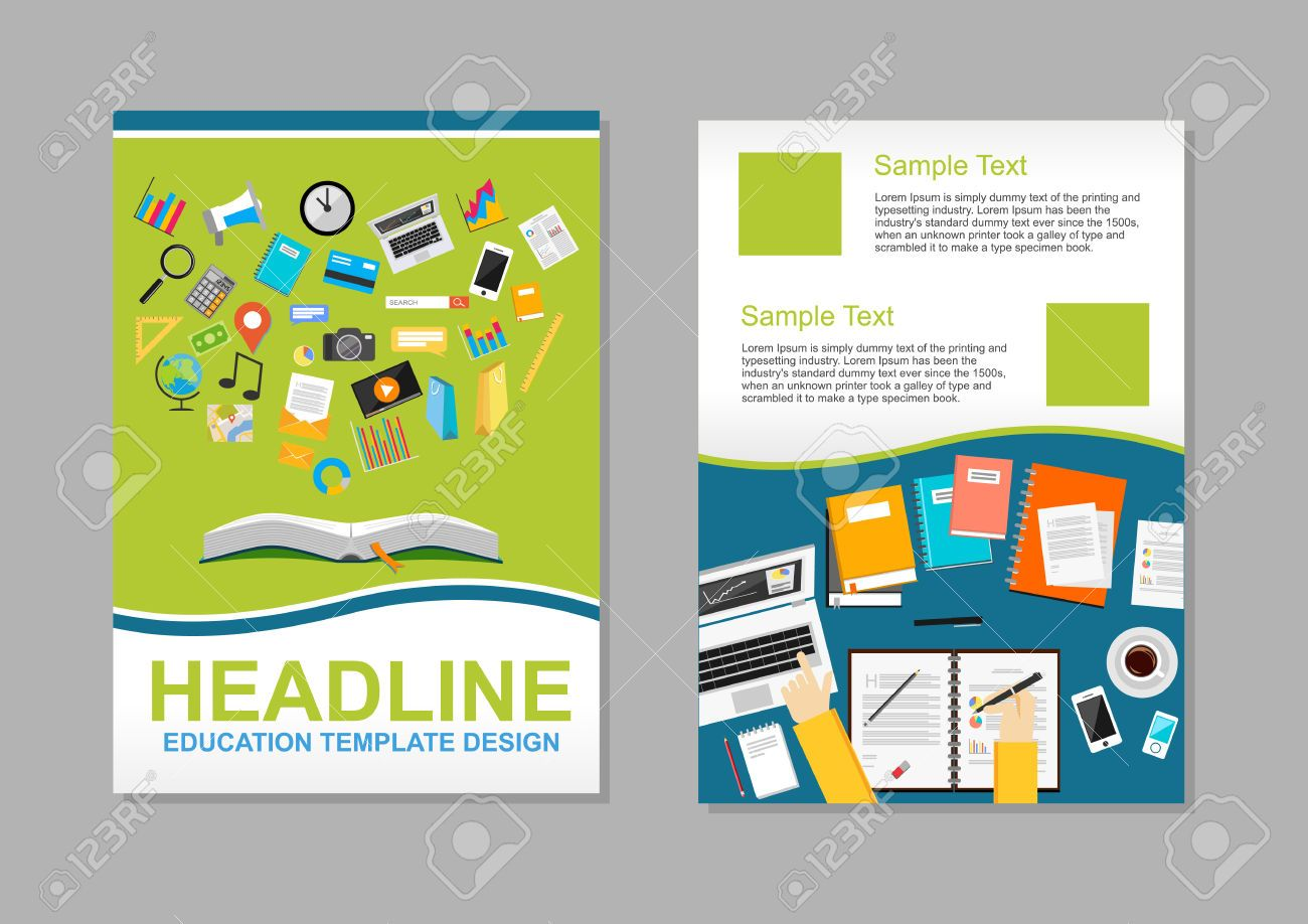 infographic brochure template - set of flyer design template education infographic