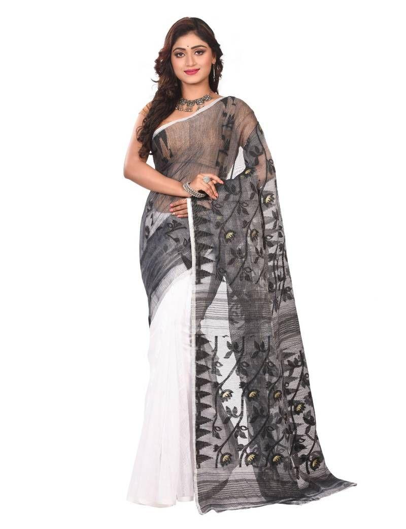 d9dd748fd1 Multicolor Plain Cotton Silk Saree Without Blouse #jamdanisaree  #indiansaree #saree #weddingsaree #