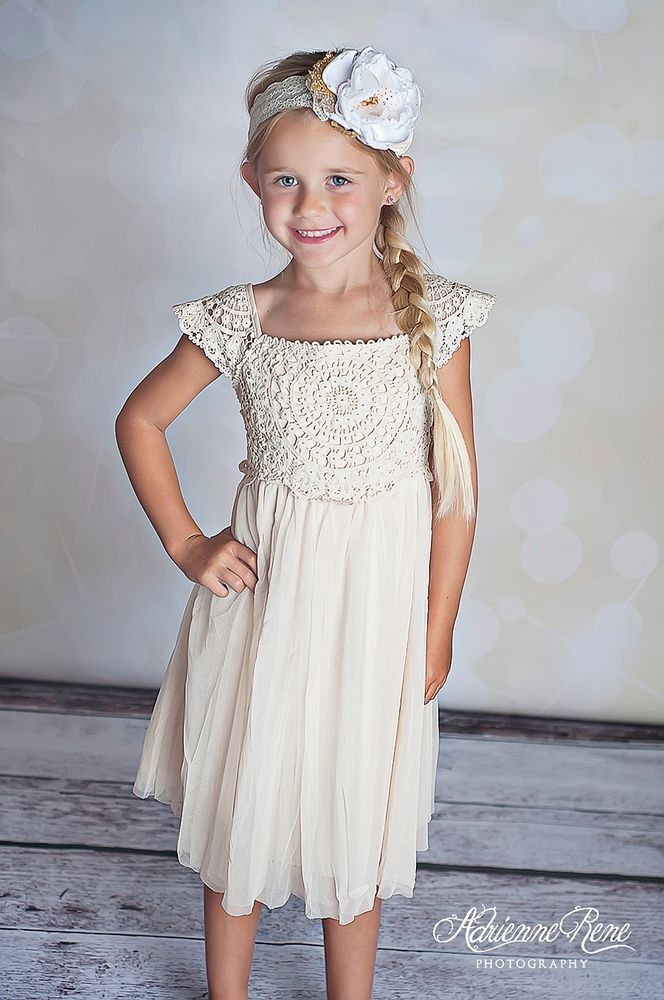 ad85b5834d75 Country chic cream toddler boutique dress crochet lace flower girl ...