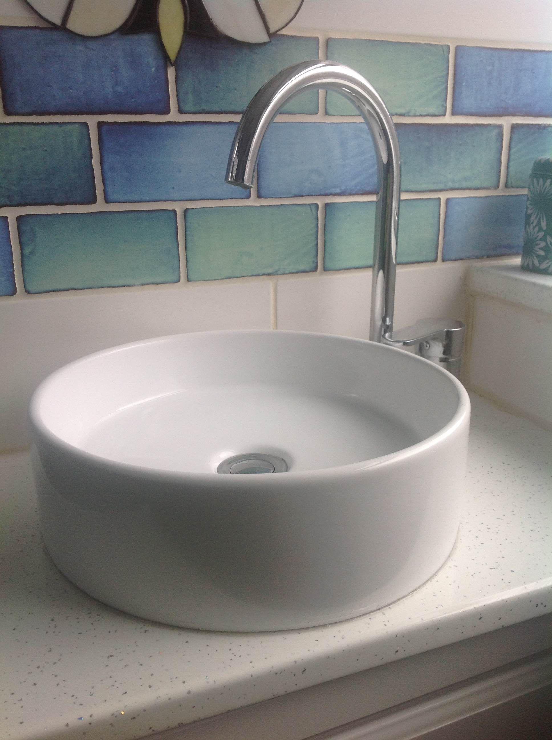 Round Countertop Bathroom Basin In White Ceramic 350mm Diameter