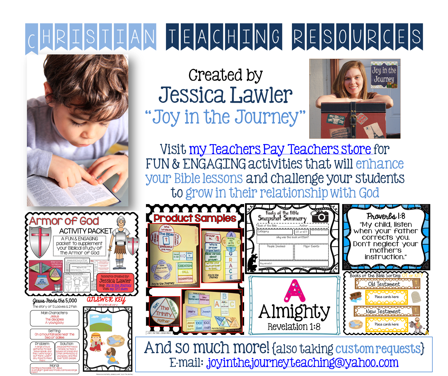 Teach in a Christian setting? Check out these fun, engaging, and easy-to-implement products from Jessica Lawler ~Joy in the Journey~