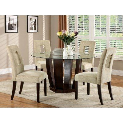 West Palm Espresso Contemporary Glass Round 5Pc Dining Set by Hokku Designs. $911.39. IDF-3625T 5PC SET Features: -Upholstery material: 35pct Polyester and 65pct cotton.-Thick rounded glass table top and a drum-inspired style base.-Generously padded chairs provide great seating comforts.-ISTA 3A certified. Includes: -Set includes one dining table and four chairs. Options: -Chair upholstered in ivory beige colored fabric. Construction: -Frame construction: Solid wo...