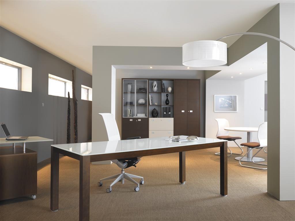 Bureau Professionnel Design Avec Plateau Laque Blanc Modele Kalos