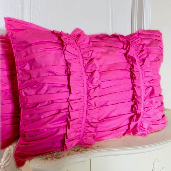 Fuschia Ruffle Ruched Pillow Sham Pair by LovelyDecor on Etsy