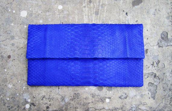 Oversize Neon Blue Fold Over Python Snakeskin Leather Clutch Bag