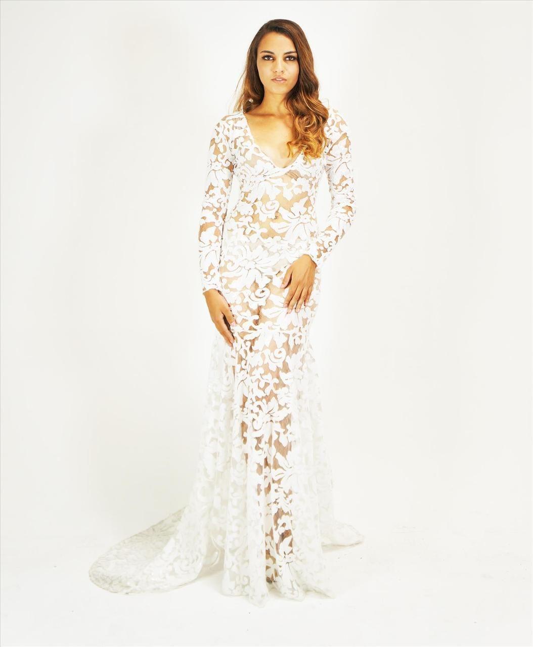 Goddess white sequined sheer mermaid maxi dress plus