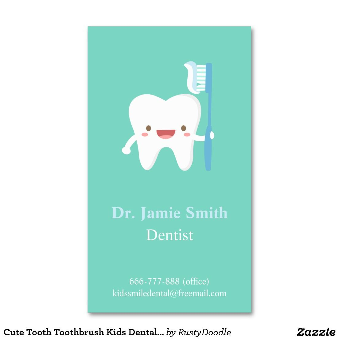 Cute Tooth Toothbrush Kids Dental Business Cards | Strictly ...
