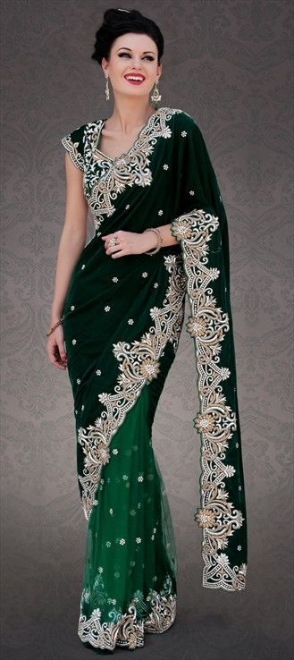 Party wear sarees embroidered net velvet
