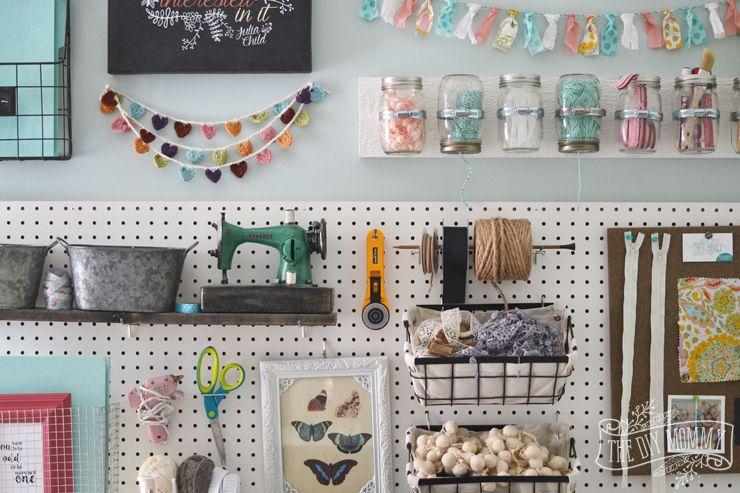 Mason Jar Pegboard Craft Rooms