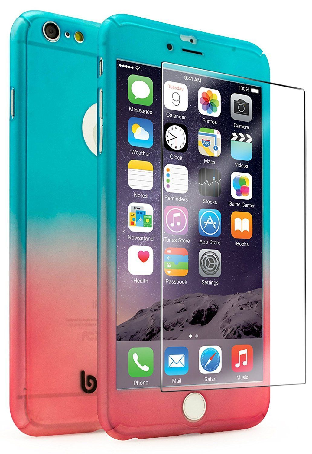 iPhone 6 Plus, Blue to Pink Fade Case With Tempered Glass Screen ...