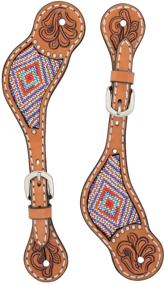 Pink Beaded Floral Womens Spur Straps