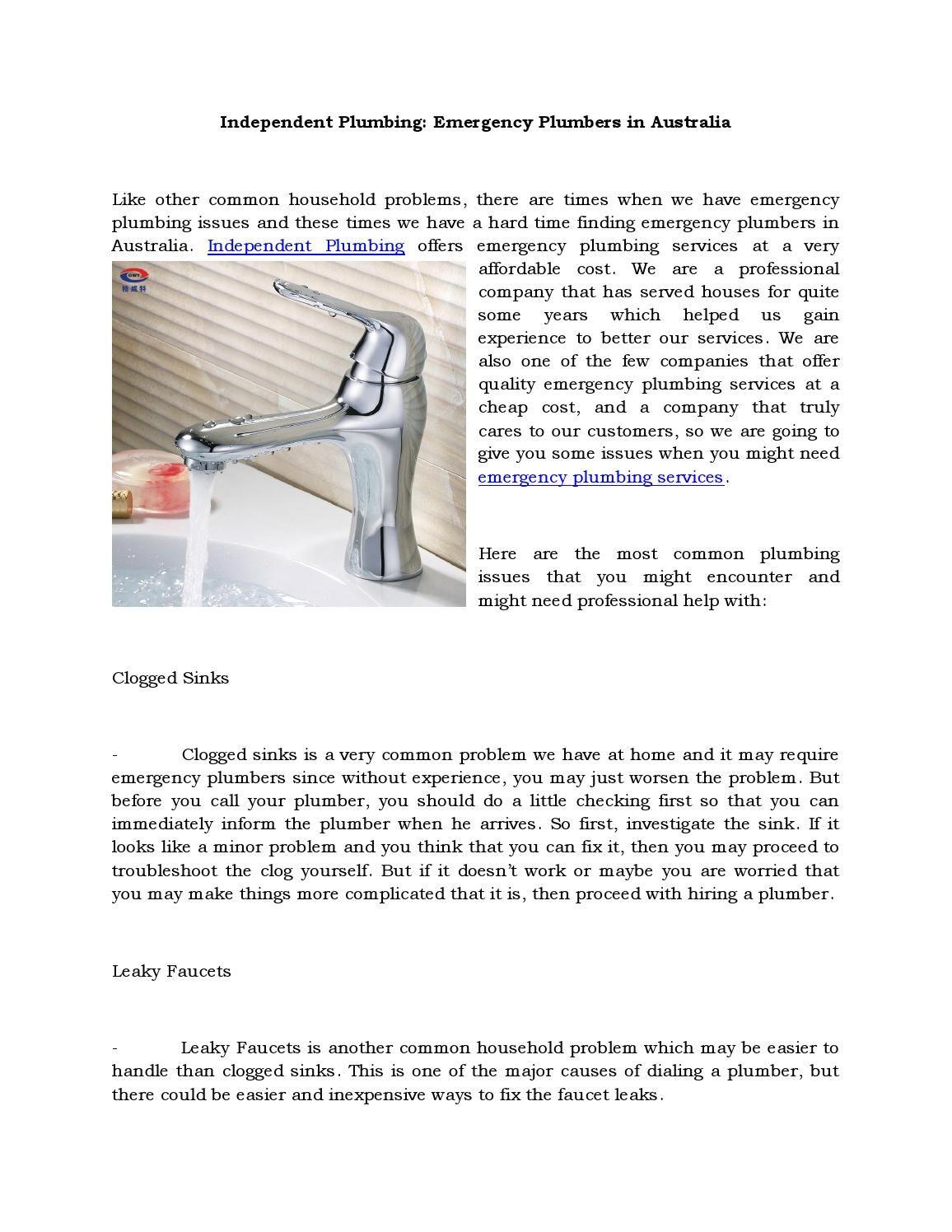 Independent Plumbing Emergency Plumbers in Australia