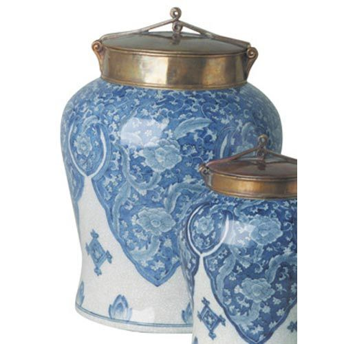 Large Decorative Urns With Lids Large Blue And White Jar With Bronze Lid  Blue & White Obsessions