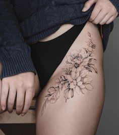 Tattoo Ideas For Women Small Tattoos Flower Tattoo Tattoos Design Flower Thigh Tattoos Hip Tattoos Women Hip Thigh Tattoos