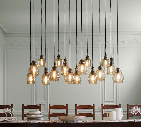 Paxton Glass 16 Light Pendant High Ceiling Lighting Rustic