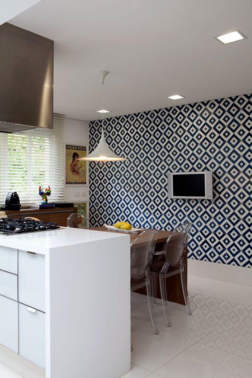 Cozinha Com Papel De Parede Geometrico Cozinhas Pinterest