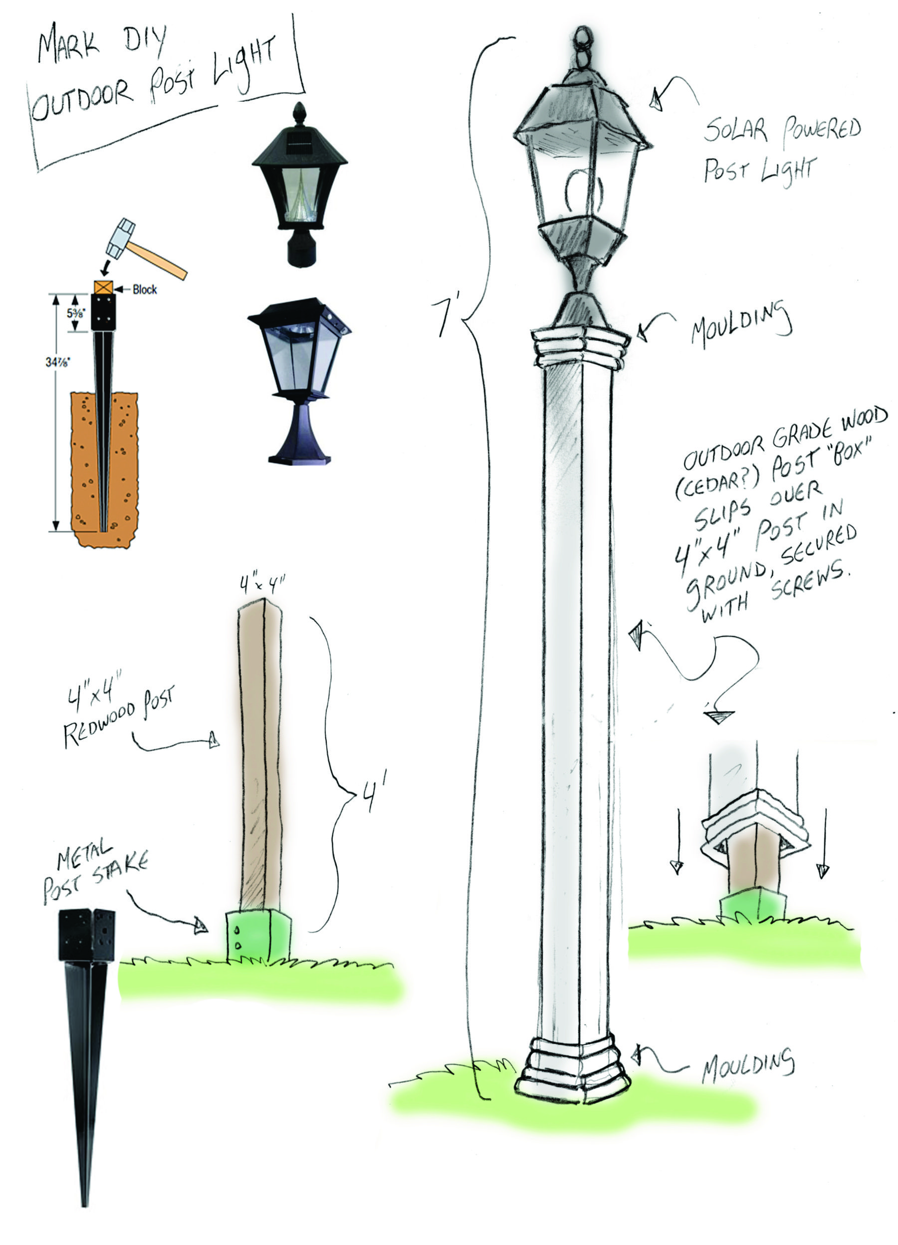 Outdoor Solar Lamppost DIY   Home U0026 Family More