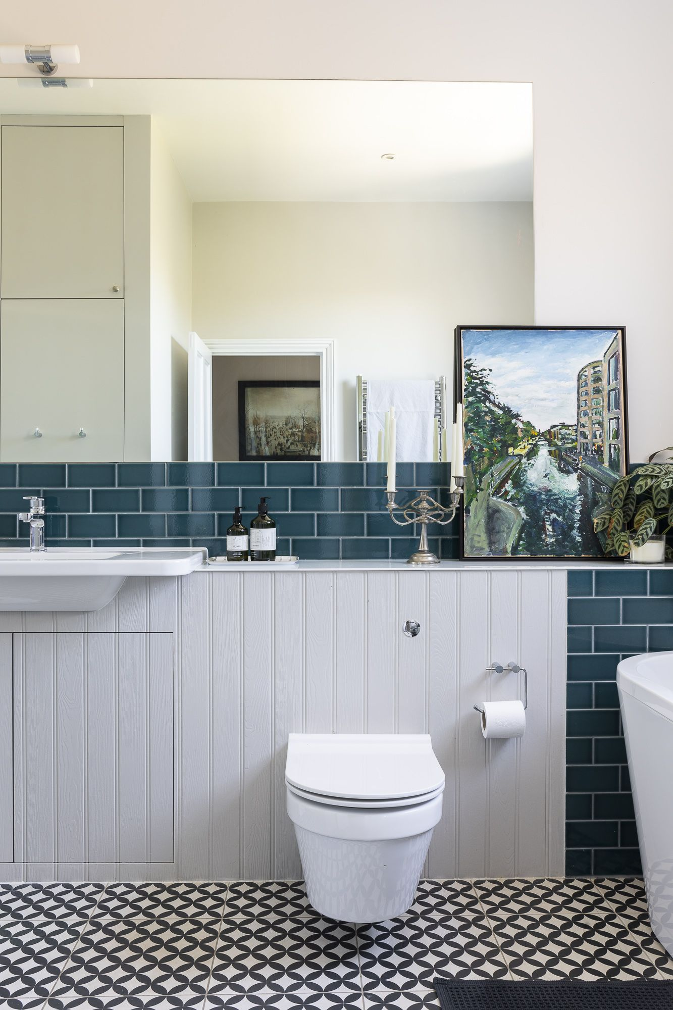 Patterned Floor Tiles Teal Ceramic Wall Tiles Tongue Groove Panelling Line The Contemporary Family Bathroom Of This Bathroom Design Family Bathroom Design