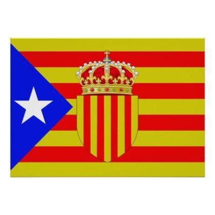 catalonia flag poster diy individual customized design unique