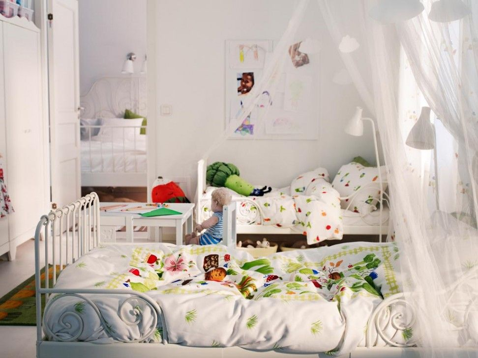 Beautiful Double Bedroom Decor For Little Boy with White Wall Paint Color and Romantic White Curtains also WHite Frame and Colrful Bed also Wall Mounted Art and White Floor Lamp