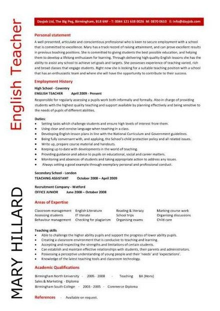 English Teacher Resume Samples Teacher Resume Examples Pinterest