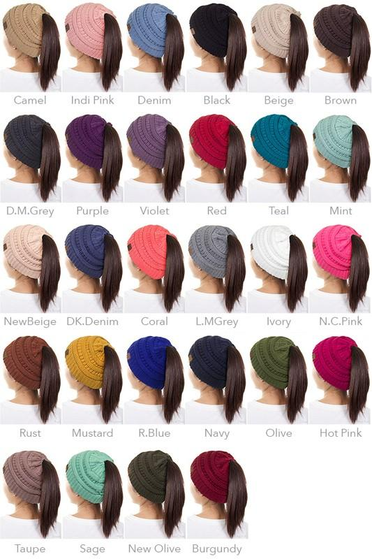 8cfc0bbdd6b CC brand. Pony tail beanie. Available in kids and adult size. Kids size  fits 2-8 best. Made of 100% soft acrylic.