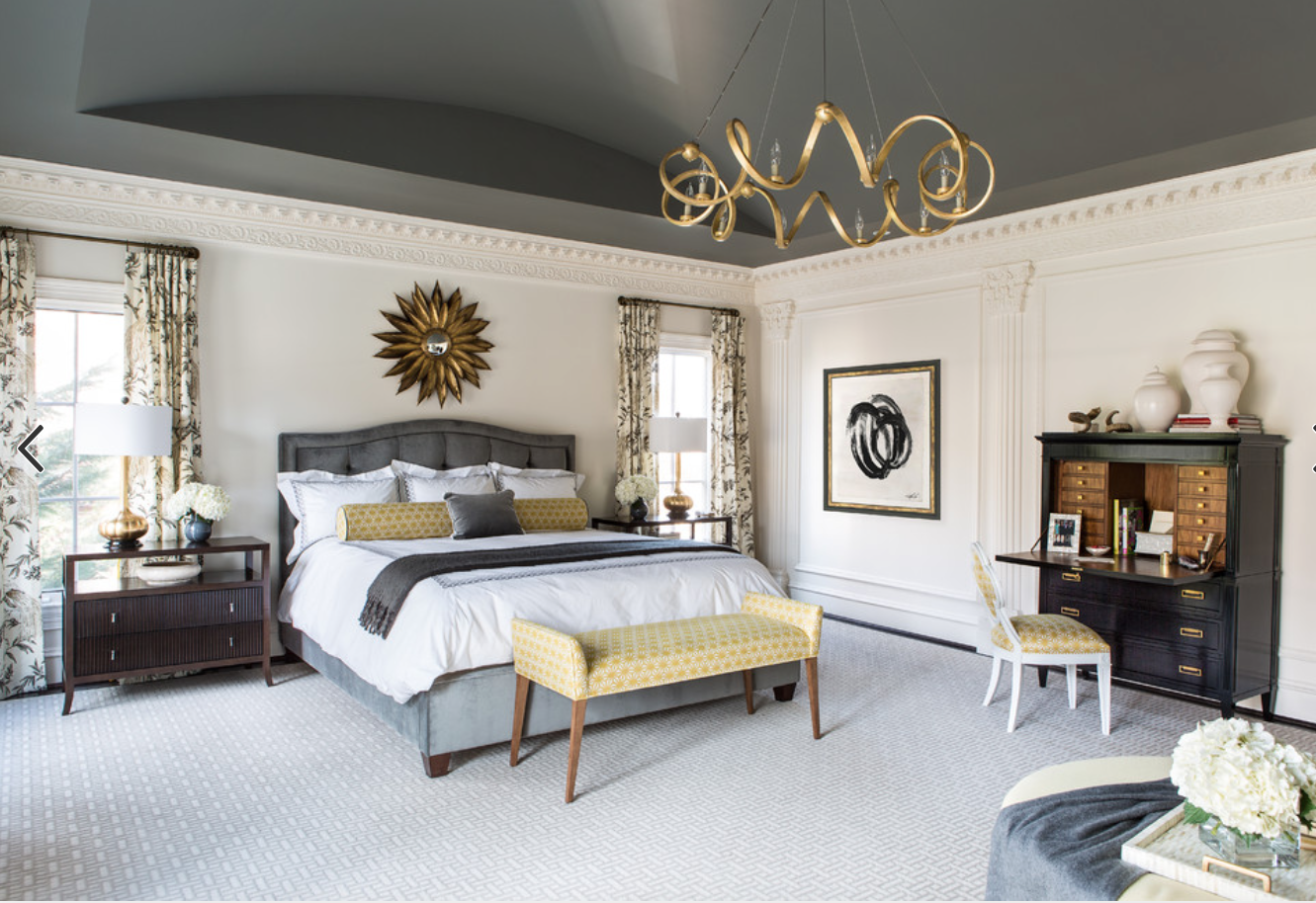 HOUZZ. Grey and cream with brass.  Master bedroom colors